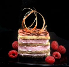 Pink October - Raspberry Mousse Almond Praline Mille Feuille aka Napoleons