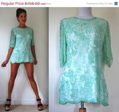 FLASH SALE Vintage 80s 90s Mint Green Sequined Tunic by littlelightVTG on Etsy https://www.etsy.com/listing/194549021/flash-sale-vintage-80s-90s-mint-green