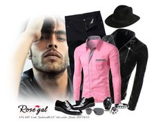 """Rosegal Shirt for Men Contest #rosegal #menswear #pinkshirt"" by lorrainekeenan ❤ liked on Polyvore featuring Bulgari, Bailey, men's fashion and menswear"