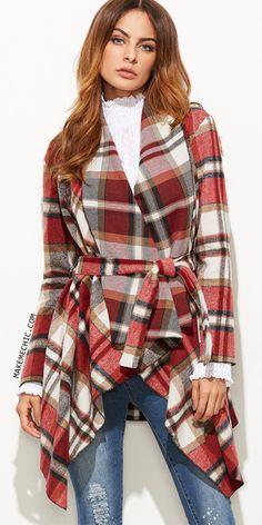 Plaid Waterfall Collar Asymmetric Wrap Coat RED