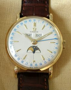 Vintage Watches Collection : Omega triple-date moonphase - - Watches Topia - Watches: Best Lists, Trends & the Latest Styles Vintage Watches For Men, Antique Watches, Luxury Watches For Men, Gold Pocket Watch, Pocket Watch Antique, Dream Watches, Cool Watches, Breitling, Rolex