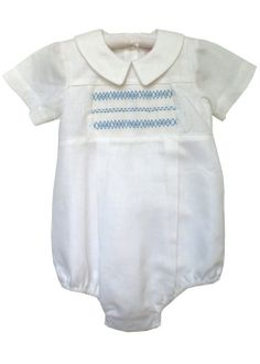 Benjamin boys bubble with hand smocking. It has a Peter Pan collar by CarouselWear, linen, very classy for your little boy.