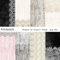 DIGITAL PAPERS, Lace Digital, chalkboard background, Wedding, Wood  Papers, vintage papers, instant download.