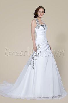 Dresswe.comサプライ品ファッションウェディングドレス ホルター ビーズレース アップコート トレイン ウェディングドレス2014