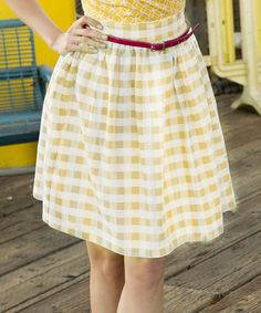 Yellow Gingham California Sunset Skirt by Shabby Apple #zulily #zulilyfinds