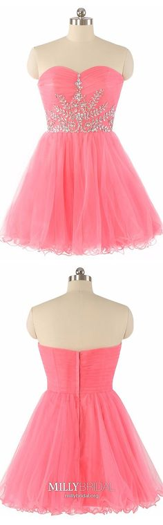 Cheap Homecoming Dresses, Short Prom Dresses, Sweetheart Party Dresses, Beading Cute Cocktail Dress, Casual Summer Dresses For Teens Vintage Homecoming Dresses, Prom Dresses For Teens, Dresses Short, Graduation Dresses, Formal Dresses, Pageant Dresses, Summer Dresses, Sweetheart Prom Dress, Tulle Prom Dress