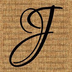 Monogram Initial Letter J Letter Clip Art by InstantPrintable,