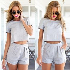 Buy Women Two-Piece Set Playsuit Party Dresses Jumpsuit Romper Trousers Clubwear at Wish - Shopping Made Fun Two Piece Outfits Shorts, Cute Outfits, Summer Outfits, Casual Outfits, Short Elegantes, Shorts Altos, Two Piece Rompers, Grey Two Piece, Dresser