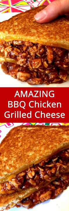 Easy BBQ Chicken Grilled Cheese Sandwich Recipe OMG I want to devour this BBQ chicken grilled cheese right now! This is the comfort food at its best! Easy Bbq Chicken, Grilled Bbq Chicken, Chicken Recipes, Rib Recipes, Easy Recipes, Bbq Chicken Sandwich, Bbq Sandwich, Dinner Recipes, Grilled Food