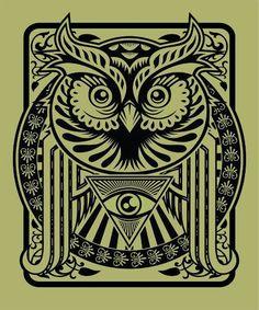 All seeing eye owl drawing