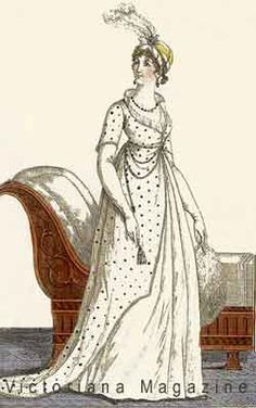 French fashion in the 1800s - antique prints from Journal des Dames et des Modes featuring 1803 gowns, dresses, hats and bonnets.
