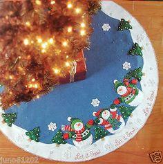 "Let It Snowman Felt Christmas Tree Skirt Kit Bucilla 43"""