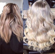 Curly blonde hair foils hair by Charmaine