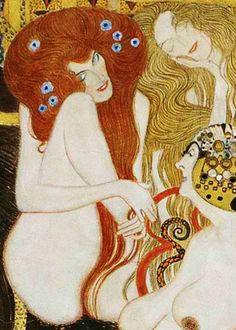 """Gustav Klimt: Le potenze ostili """"Lussuria"""" particolare dal Fregio di Beethoven (1902) Caseina su intonaco 220x3400. Stile: Art Nouveau. Periodo: Fase d'oro"""