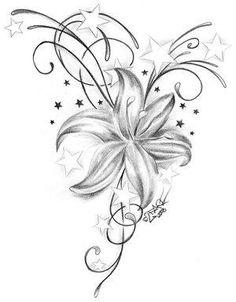 Tattoo Bilder – Tattoo Vorlagen » Lilien Tattoo Motive-Lilienblüten Tattoo Bedeutung-Lilien Tattoovorlagen Am Bauch