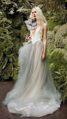 """Vera Wang Spring 2020 Wedding Dress Collection Vera Wang Spring """"Larkspure"""" sleeveless A-line wedding dress with V-neckline, blue-gray tulle skirt, and gray floral detail on shoulder Wedding Dress Trends, New Wedding Dresses, Bridal Dresses, Tulle Wedding, Wedding Shoes, Wedding Favors, Tulle Ball Gown, Ball Gowns, Bridal Collection"""
