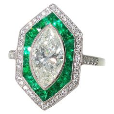 1.36 Carat GIA Cert Diamond Emerald Platinum Ring | From a unique collection of vintage more rings at https://www.1stdibs.com/jewelry/rings/more-rings/