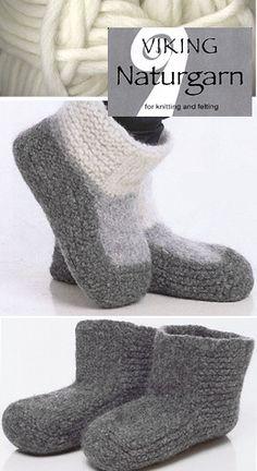 Viking Naturgarn Felted Slippers Easy Crochet, Knit Crochet, Free Knitting, Knitting Patterns, Felted Slippers, Slipper Boots, Knitting Projects, Clothing Ideas, Knits