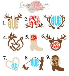 Vinyl Country Monogram Decals are made to order. These decals are perfect for your car window, notebook binders, laptops or anything else that