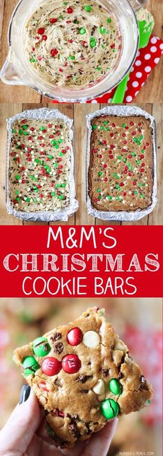 M&M'S Christmas Cookie Bars Recipe Christmas holiday baking holiday cookie holiday cooking Holiday Cookies, Holiday Treats, Holiday Recipes, Holiday Gifts, Holiday Foods, Winter Recipes, Holiday Bars, Christmas Snacks, Christmas Cooking