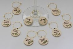 Wedding Party Ceramic Wine Charms set of 10  for by VumbacaWhite