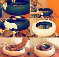 ARTE COM QUIANE - Paps,Moldes,E.V.A,Feltro,Costuras,Fofuchas 3D: cama para cachorro feito de pneu