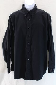 Brooks Brothers Shirt Mens XXL Black Traditional Fit Long Sleeve Button Down 2XL #BrooksBrothers #ButtonFront