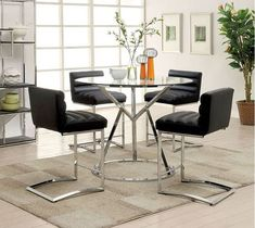 5 Pc Furniture Of America Livada Ii Black Counter Height Dining Room Table Set Cm3170rpt Patio