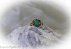 Wire Wrapped Brass Blue Agate Ring size 4 1/2 by superioragates
