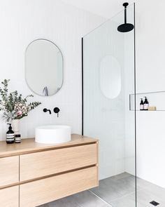 Who else is ✨ DREAMING✨ of a white, light and bright bathroom like this? Make that dream a reality with our Tribeca Brick, classic Belga… Laundry In Bathroom, Bathroom Renos, Bathroom Inspo, Bathroom Inspiration, Small Bathroom, Bathroom Tapware, Remodel Bathroom, Bright Bathrooms, Modern White Bathroom