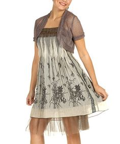 Look what I found on #zulily! Gizel Brown Flower Chiffon-Hem Dress - Women by Gizel #zulilyfinds