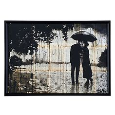 Cool hues of umber, black and linen white cascade together forming the soft imagery of a couple caught in the moment in our Rainy Day Rendezvous.