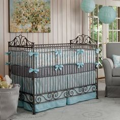 Windy Day Crib Bedding | Blue White and Gray Crib Bedding | Carousel Designs