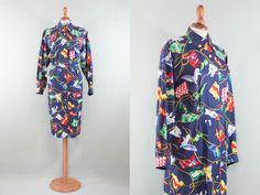 Hermes auth dress / vintage 80s cotton dress / flags navy dress / rare hermes dress / size M L by MyLoftVintage on Etsy