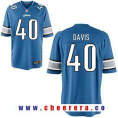 Men s 2017 NFL Draft Detroit Lions  40 Jarrad Davis Light Blue Team Color  Stitched NFL d0b994730