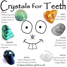 Rainbow Spirit crystal shop - Crystal healing properties of stones used in the treatment of teeth disorders, teething, dental pain Crystal Shop, Crystal Magic, Crystal Grid, Chakra Crystals, Crystals And Gemstones, Stones And Crystals, Gem Stones, Crystals For Kids, Chakra Stones