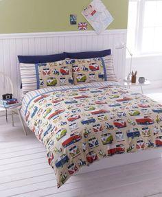 """#Bedding Campervans Duvet Quilt Cover Exclusive Colour """"Vintage"""" (Double (Includes 2 Pillowcases)): Amazon.co.uk: Kitchen & Home"""