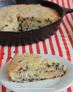 Chocolate Chip Skillet Butter Cake-no frosting needed for this this simple cake! A light vanilla flavor with little bursts of chocolate in every bite.