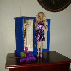 Upcycled Barbie and wardrobe