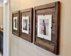 DIY Rustic Wood Frames, Reclaimed Wood Frame, Set of 5 x 7 Picture Frame with Mat, 8 x 10 picture Reclaimed Wood Picture Frames, Rustic Picture Frames, Picture Frame Crafts, Rustic Frames, Picture On Wood, Rustic Wood, 10 Picture, Pallet Frames, Barn Wood Picture Frames