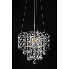 Add an elegant touch to your home with this round ceiling chandelier. This four-light fixture features glittering crystals and a sleek chrome finish.