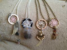 Handmade dream catcher necklaces #hippie #bohemian #jewelry #dreamcatcher  https://www.etsy.com/shop/DreamChasingArt