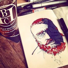 """Pre weekend provisioning provided professionally by the folks at #HermitageBrewing ...so some #drinkanddraw seems in order. #reddit user """"pickleDGAF"""" is the subject done with various pens and markers. #art #sketch #portrait #redditgetsdrawn #beard #gingerbeer #beer #DTSJ #artistsoninstagram"""