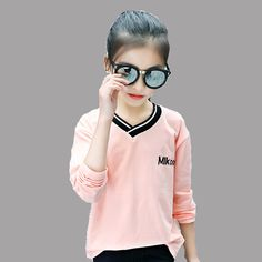 Kids T-Shirts For Girls Children Clothing Cotton V-Neck T-Shirts Long Sleeve Letter Girls Tees 2 4 6 8 10 11 12 Years Brand Tops