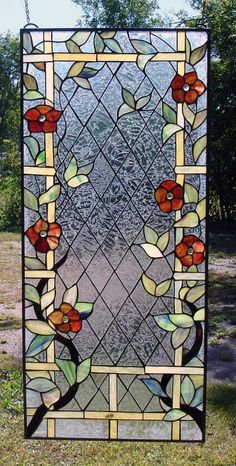 Frosted Clematis Stained Glass Window