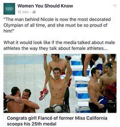 """""""Noivo da ex-miss Califórnia ganha sua 25ª medalha. O homem por trás de Nicole é agora o maior campeão olímpico de todos os tempos e ela está muito orgulhosa dele."""" Que tal? Como seria se a mídia falasse dos homens como fala das mulheres? Excelente a provocação da fanpage Women you should know"""". Nem tanto ao mar nem tanto à terra. Empoderar mulheres não significa criar uma sociedade que desconhece o valor individual. É dar o destaque para cada um!  #likeagirl #olympics #rio2016…"""