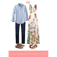 Outfits for engagement session: floral maxi dress + chambray shirt
