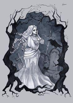Lenore by IrenHorrors on DeviantArt Dark Gothic Art, Gothic Fantasy Art, Dark Art, Fanart, Goth Art, Creepy Art, The Villain, Character Drawing, Halloween Art