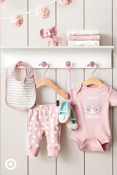 Oh-so-sweet baby clothes will keep her cute as a button in every outfit. Easily mix and match soft and cozy bodysuits, pants, bibs and more for an adorable look everyone will love.