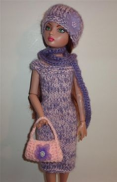 """Hand Knit """"ANGORA"""" 4 PC Outfit Clothes for Ellowyne, Prudence & 16"""" Tonner Dolls"""